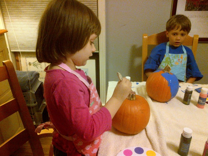 Kids Pumpkin Painting 2013